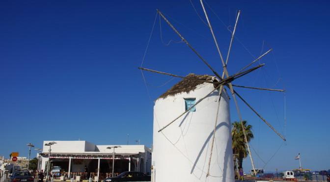 Paros -Parikia Windmühle am Hafen, Wahrzeichen des Ortes