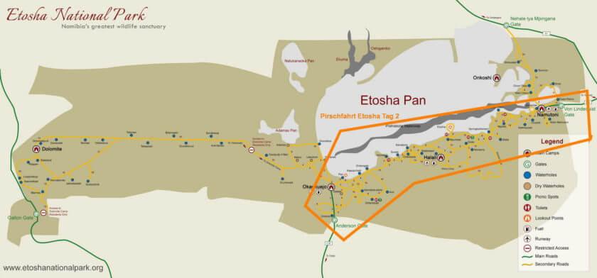 Etosha Pirschfahrt vom Von Lindequist Gate bis Anderson Gate