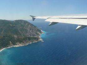 Ferienflieger -Blick aus Flugzeug