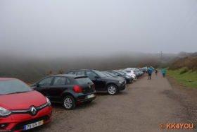 Nebel berüßt die Wanderer, 9 ºC