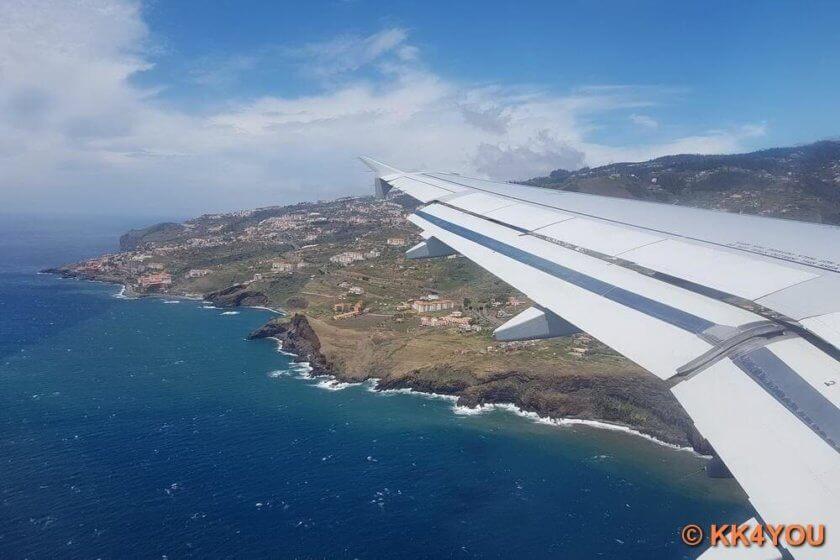 Anreise Madeira -Landeanflug Madeira Airport Santa Catarina