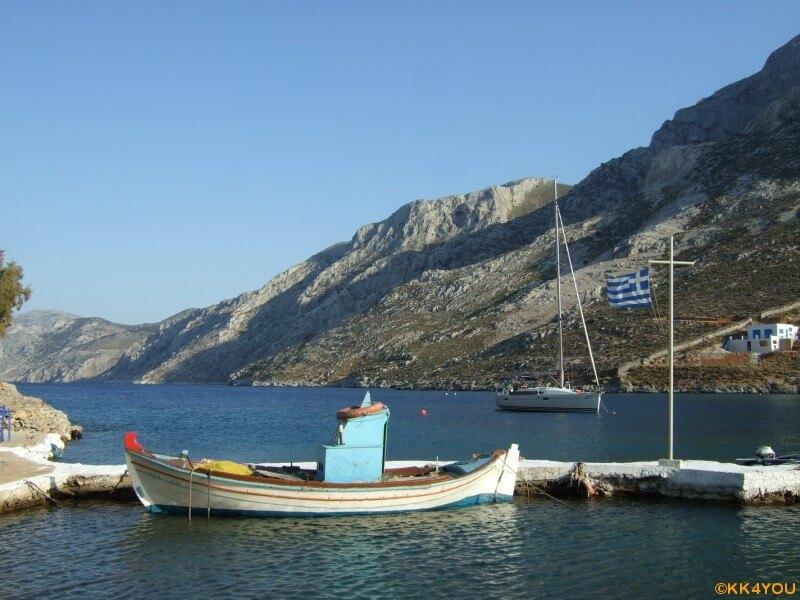 Kalymnos -O. Palaio. Blick von Taverne Ilias