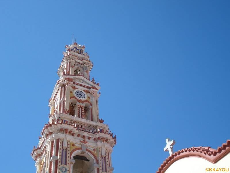 Glockenturm des Klosters Ormos Panormitis