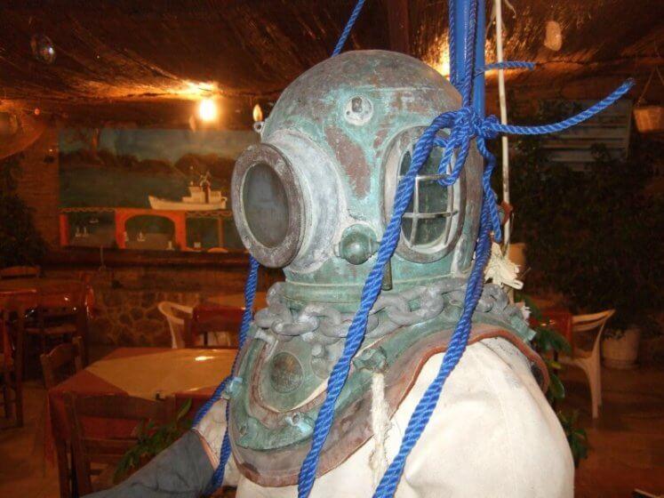 Kalymnos -Schwammtaucherausrüstung