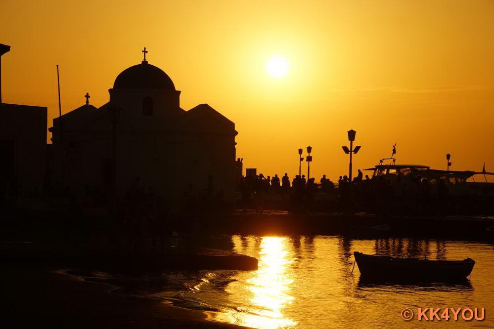 Sonnenuntergang über Mykonos Stadt (Chora)