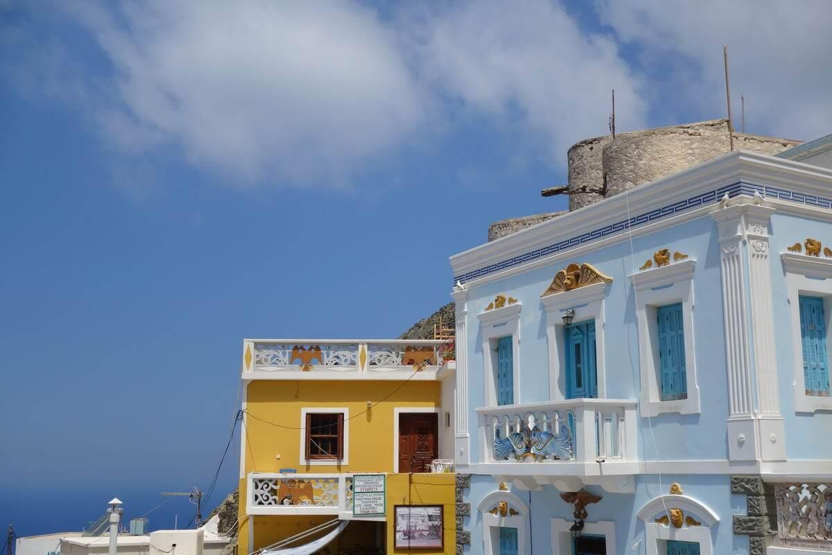 Malerische Häuser in Olymbos