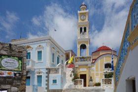 Karpathos -Campanile der Dorfkirche von Olymbos
